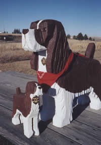 Springer Dog Wooden Folk Art