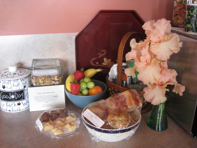Breakfast features home baked muffins, granola & coffee breads