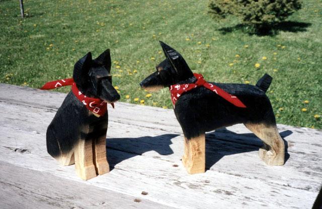 Folk Art Wooden Gift in image of Doberman Dog Breed