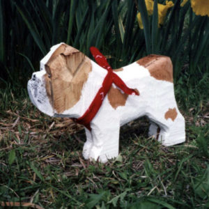 English Bull Dog Wood and Painted Sculpture