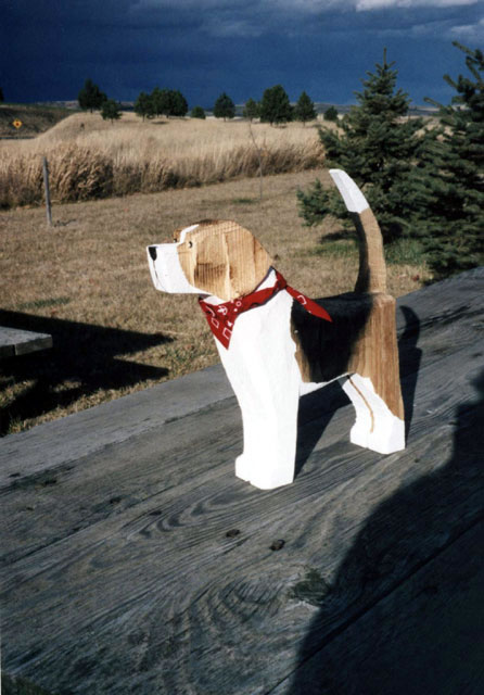 English Foxhound Dog Breed Wooden Folk Art