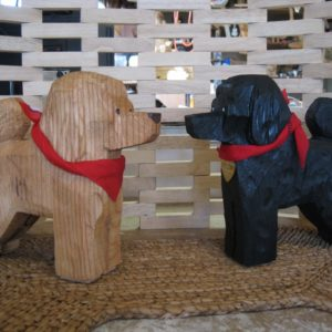 Wood Chainsaw Carved Poodles